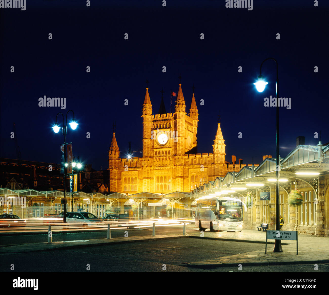 Bristol Temple Meads Railway station at night. Stock Photo