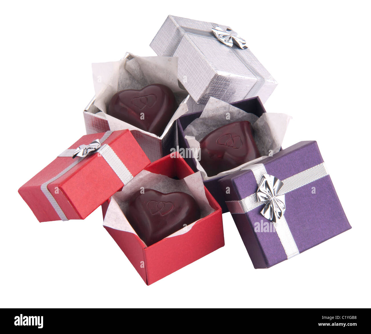 Chocolate Heart Shaped Bonbons In Small Gift Boxes Cutout Cut Out