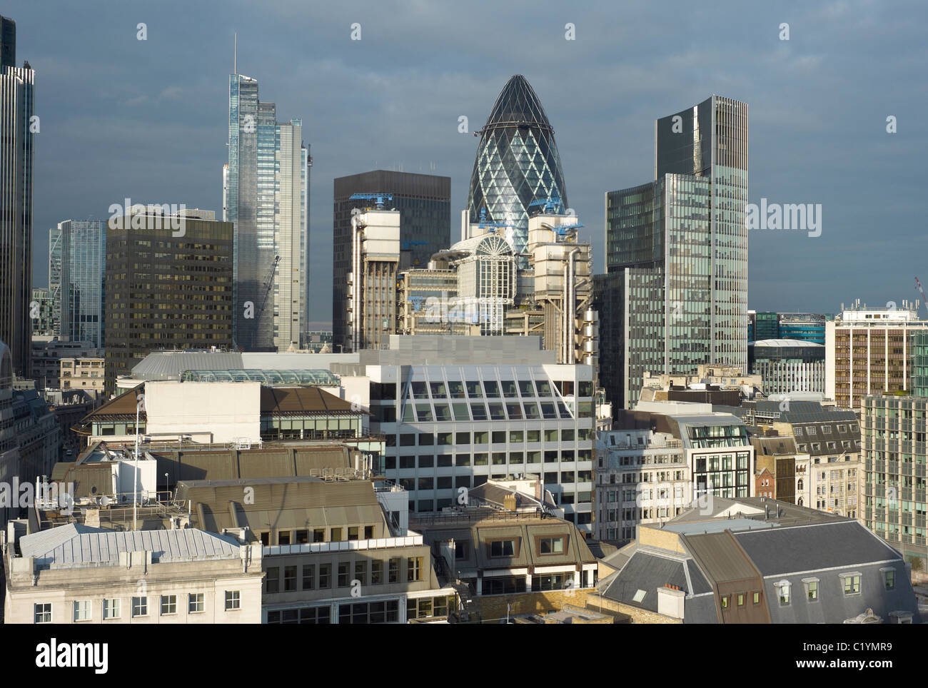 Buildings in the city of London commercial / Banking district including the so called Gurkin - Stock Image