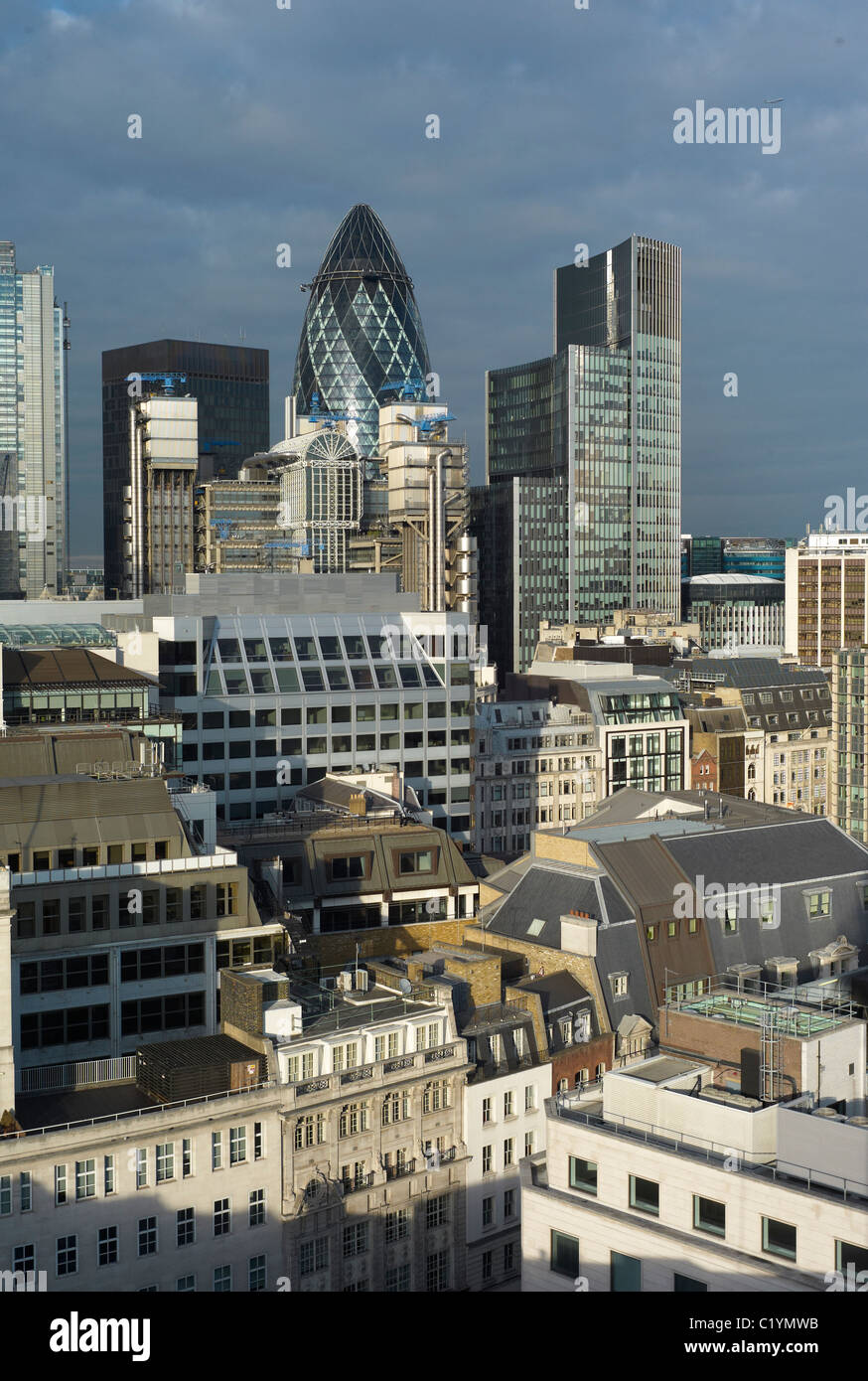 Buildings in the 'city'of London commercial / Banking district including the so called Gurkin - Stock Image
