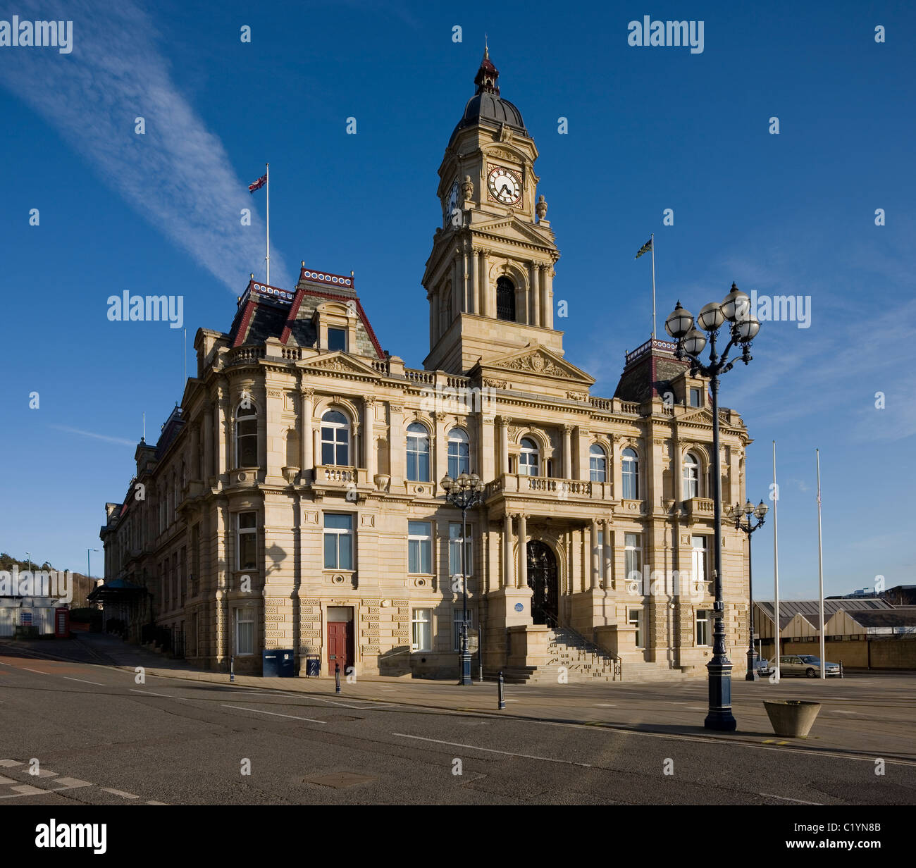 Dewsbury Town Hall Kirklees Council Grade Two listed building and concert hall at Dewsbury West Yorkshire UK - Stock Image