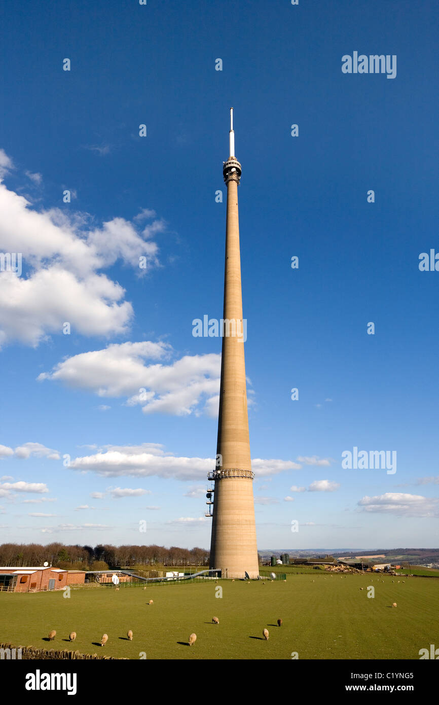 The Arqiva Tower aka The Emley Moor Mast tv transmitting station and tallest free-standing structure in The UK Emley - Stock Image
