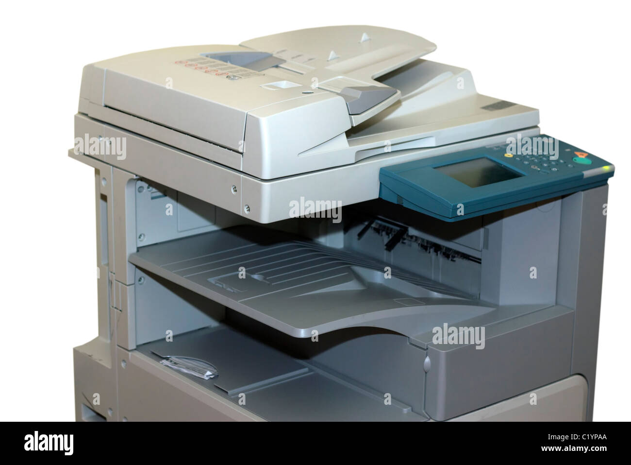 Closeup of the photocopy machine isolated on white - Stock Image