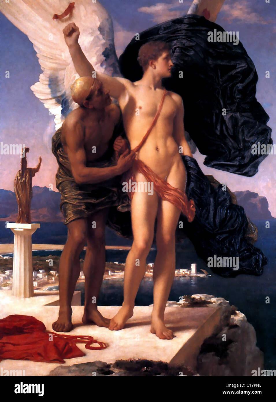 Frederic Leighton, 1st Baron Leighton (1830–1896)  Title English: Icarus and Daedalus - Stock Image