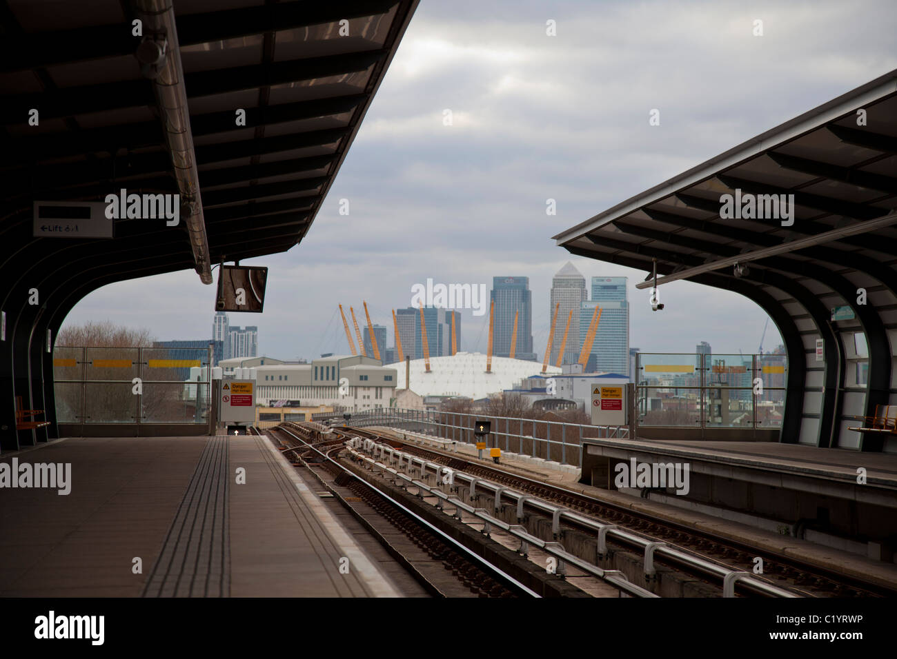 Docklands and O2 from a DLR station - Stock Image