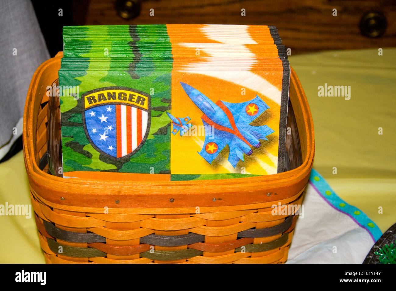 Ranger napkins for Vietnam pilot's birthday party. St Paul Minnesota MN USA - Stock Image