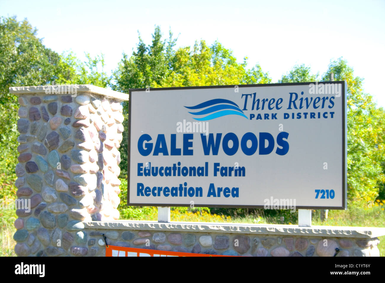 Informational sign. Gale Woods Farm Minnetrista Minnesota MN USA - Stock Image