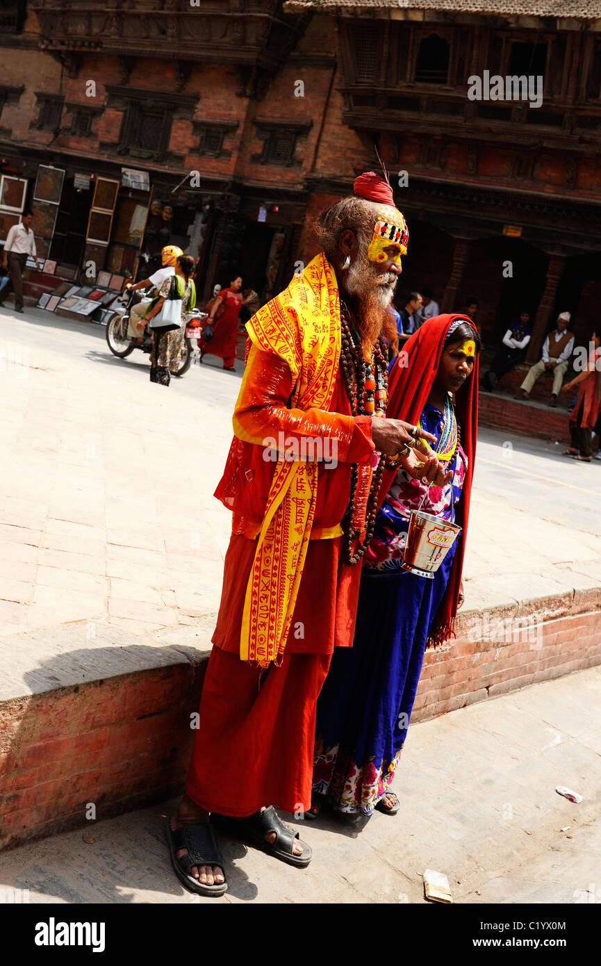 sadhus posing for photos , peoples lives ( the nepalis ) ,life in kathmandu , kathmandu street life , Nepal - Stock Image