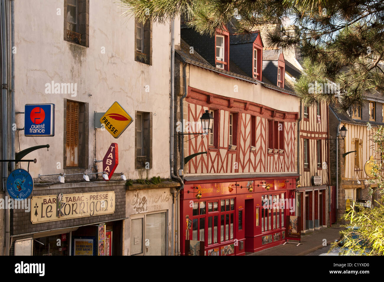 Old half-timbered houses, Vannes (56000), Morbihan, Brittany, France - Stock Image