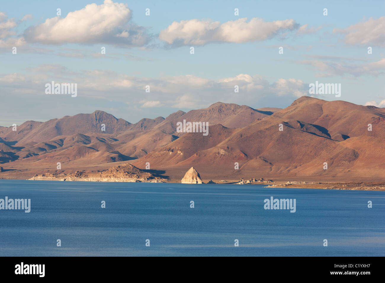 PYRAMID LAKE is a terminal (no outlet) lake on the Pyramid Lake Indian Reservation. Nevada, USA. Stock Photo