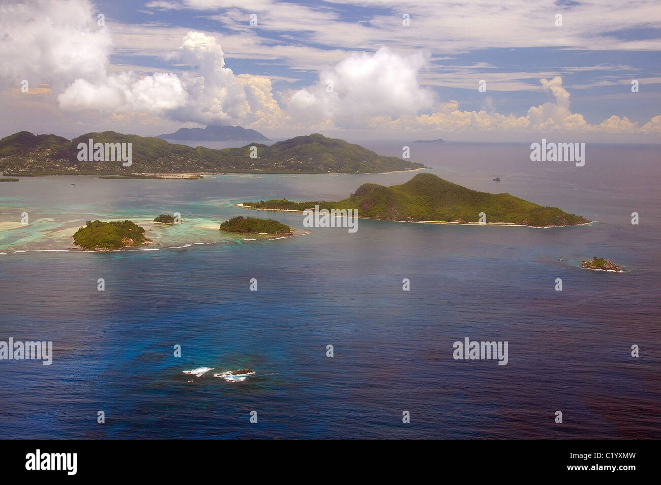 Aerial view, Island, Seychelles, Africa - Stock Image