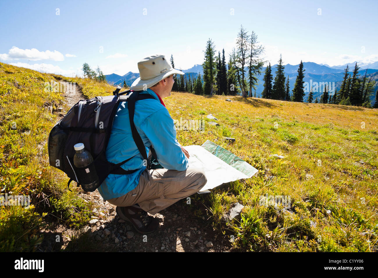 A hiker on the Pacific Crest Trail checking his map. Washington Cascades, USA. - Stock Image