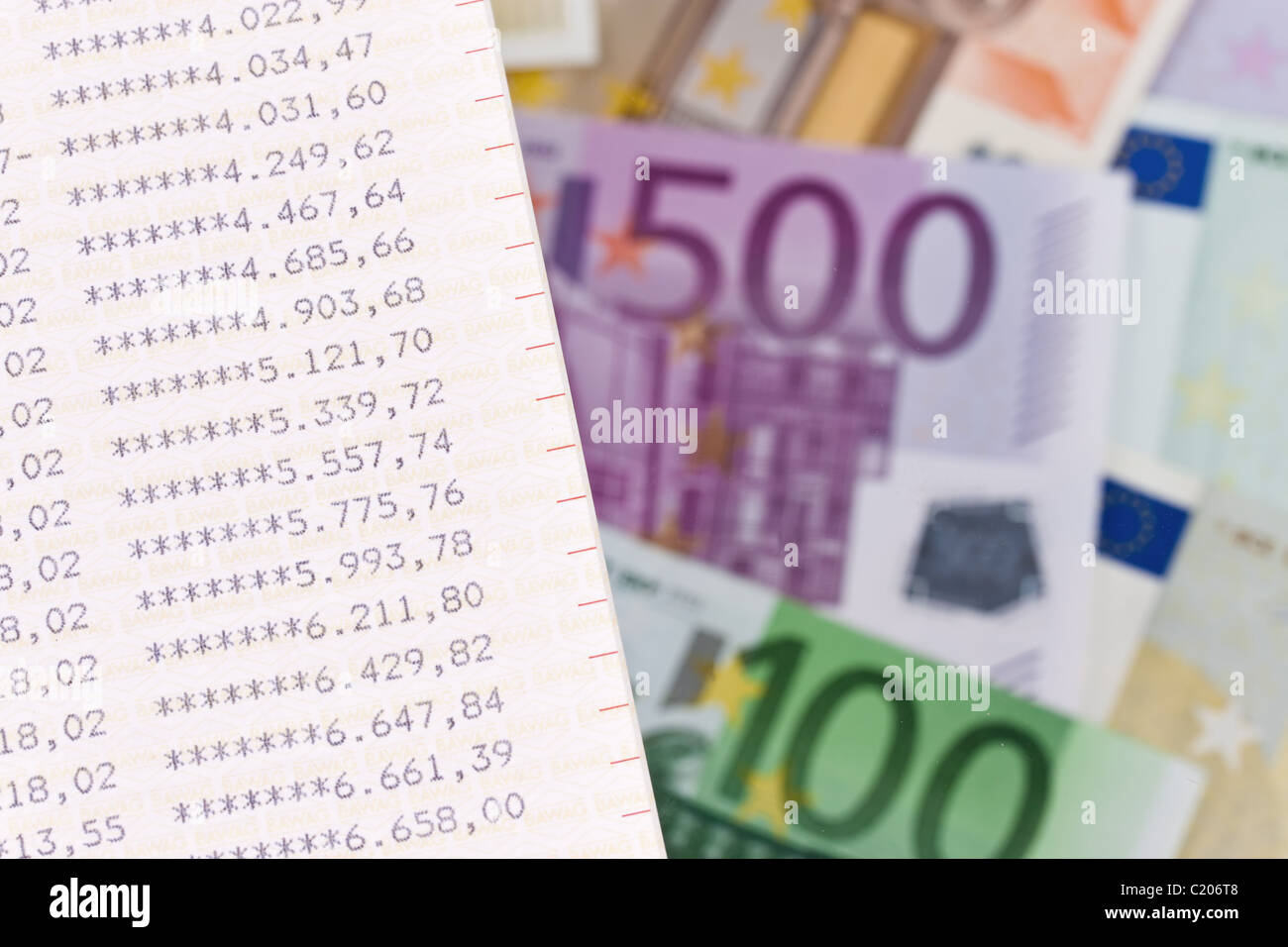 Euro bills with savings account Stock Photo