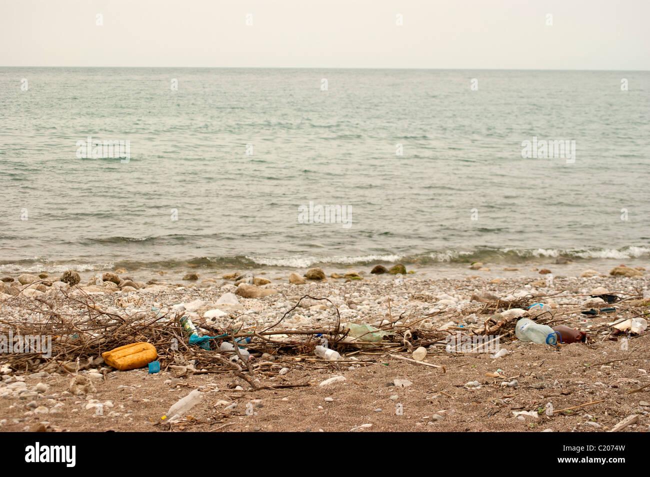 Dirty beach in Bar city, Montenegro Stock Photo