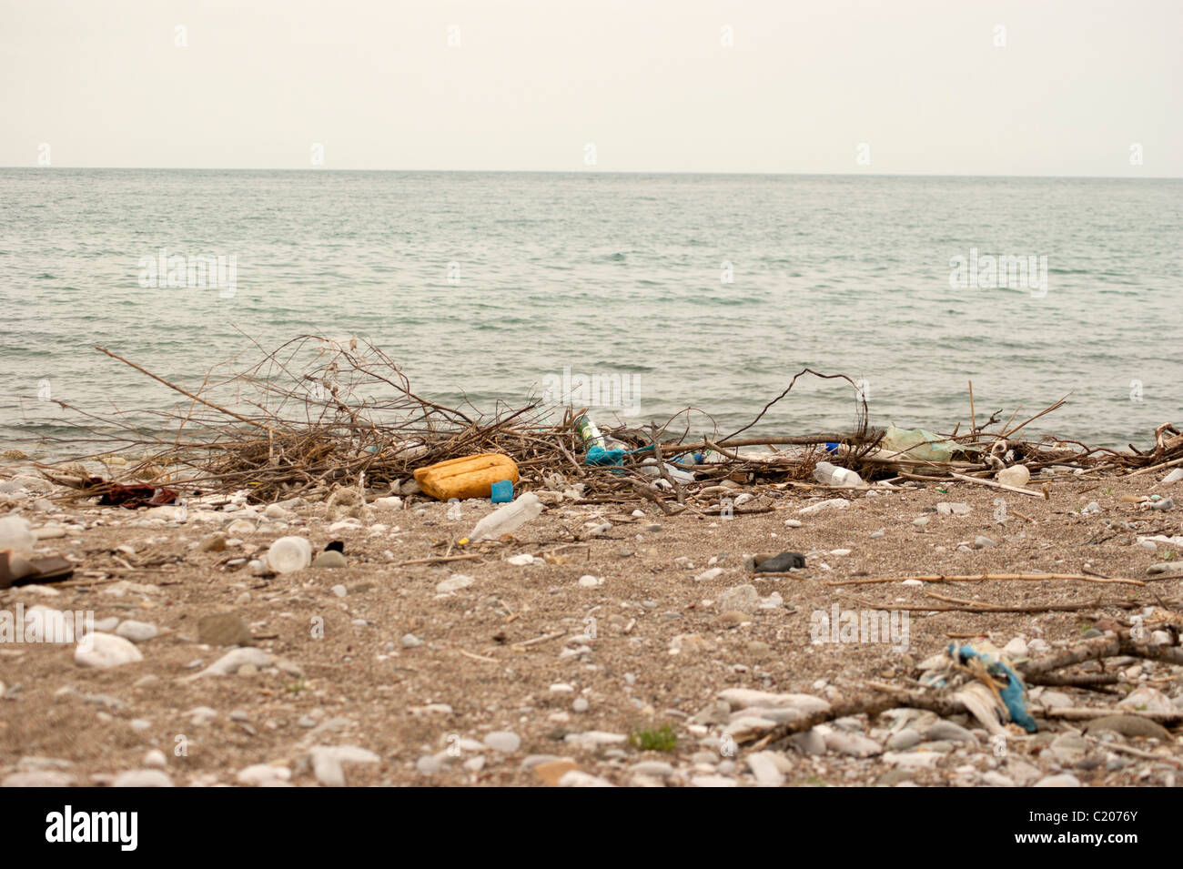 Dirty beach in Bar city, Montenegro - Stock Image