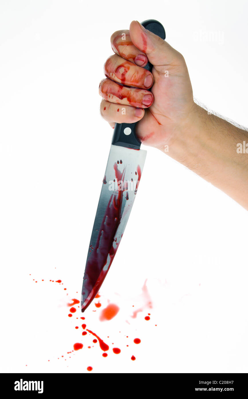Knife and Blood, crime - Stock Image