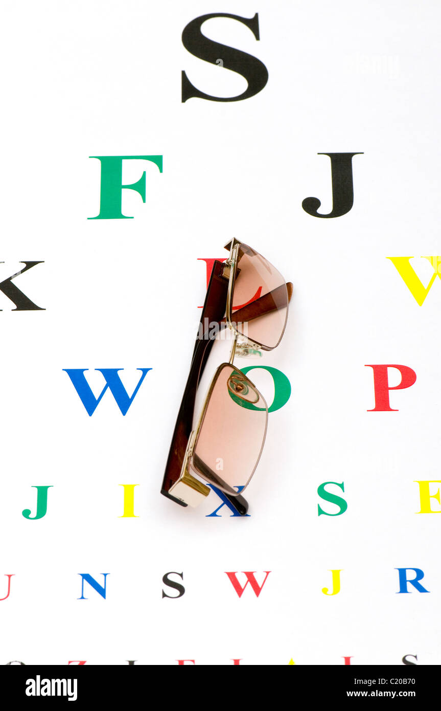 Optical glasses over the eye test table Stock Photo