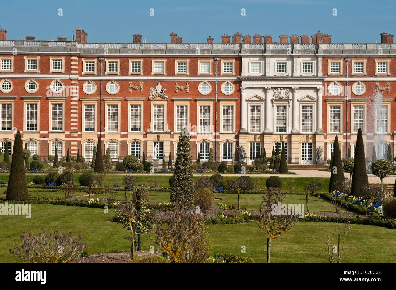 Hampton Court Palace and Privy Garden, East Facade, Surrey, England ...