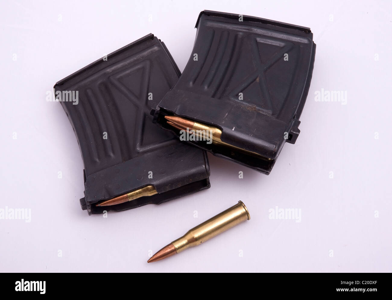Ammunition and magazines for a sniper rifle. - Stock Image