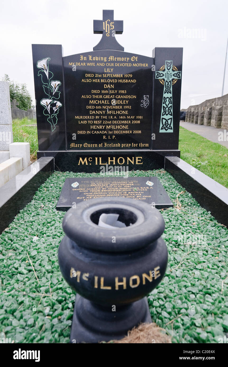 Grave of Daniel McIlhone, one of the victims of the IRA who was murdered around 1st July 1981 and 'disappeared' - Stock Image