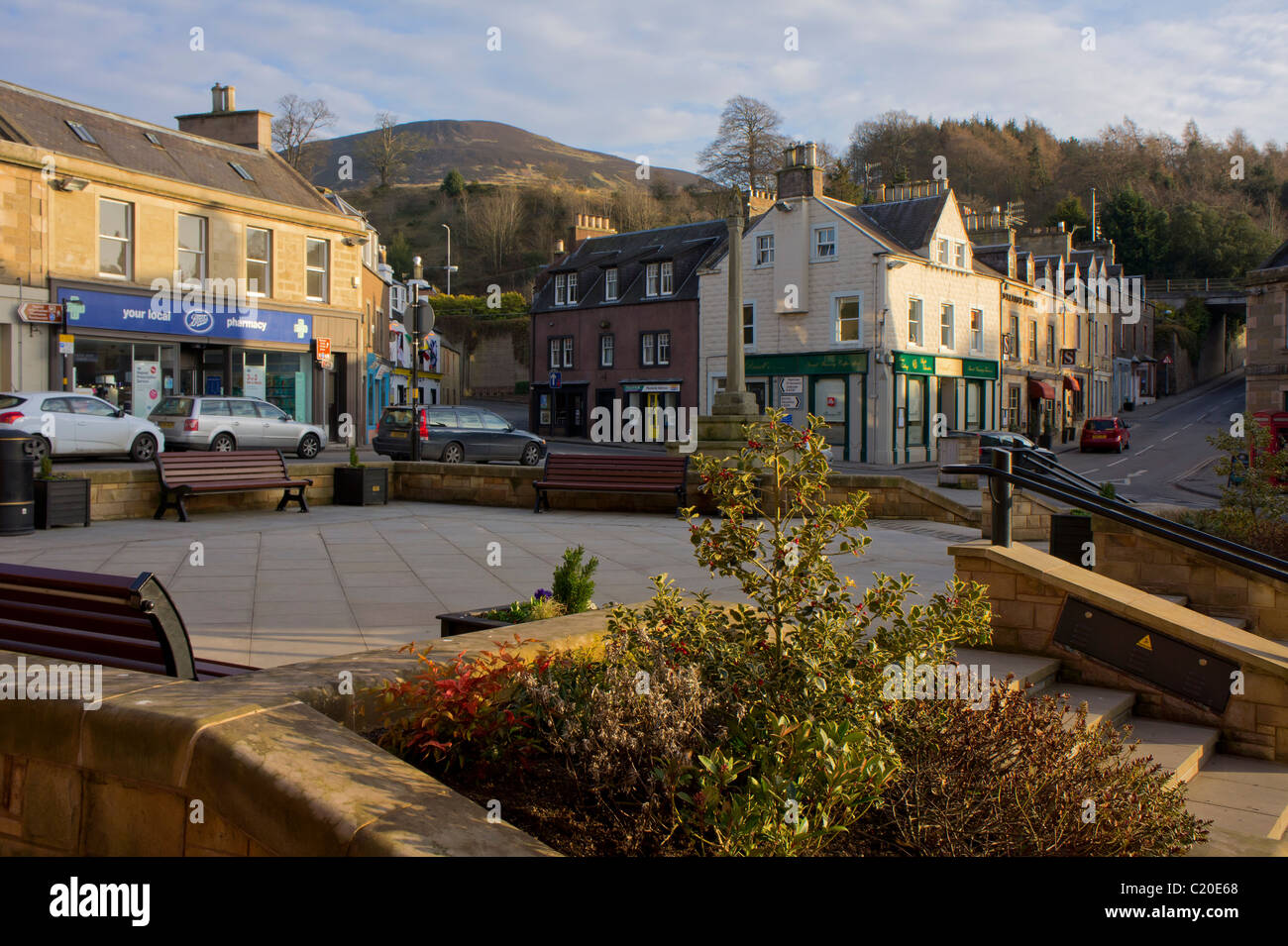 Melrose town centre, evening, Borders Region, Scotland - Stock Image