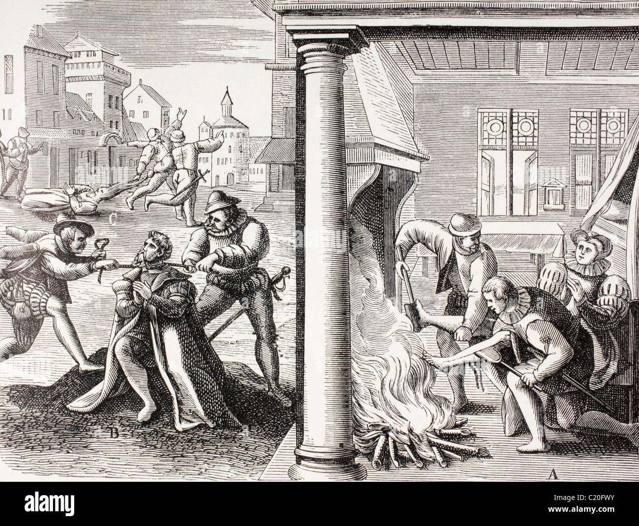 16th century propaganda illustrating violence of the French Huguenots against the Catholics. Stock Photo
