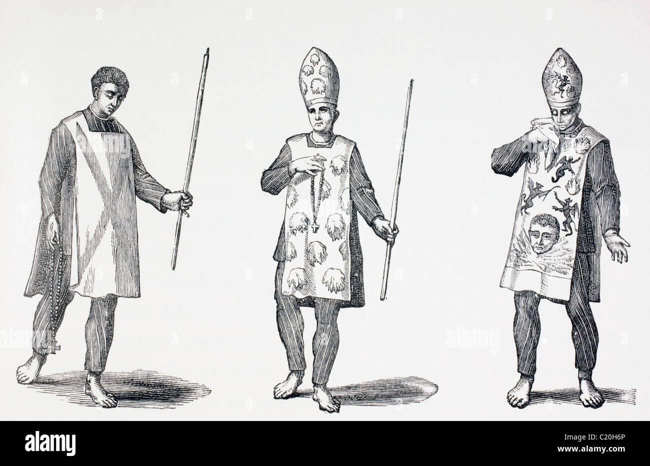 Sambenitos worn by Auto-da-Fe penitents. - Stock Image