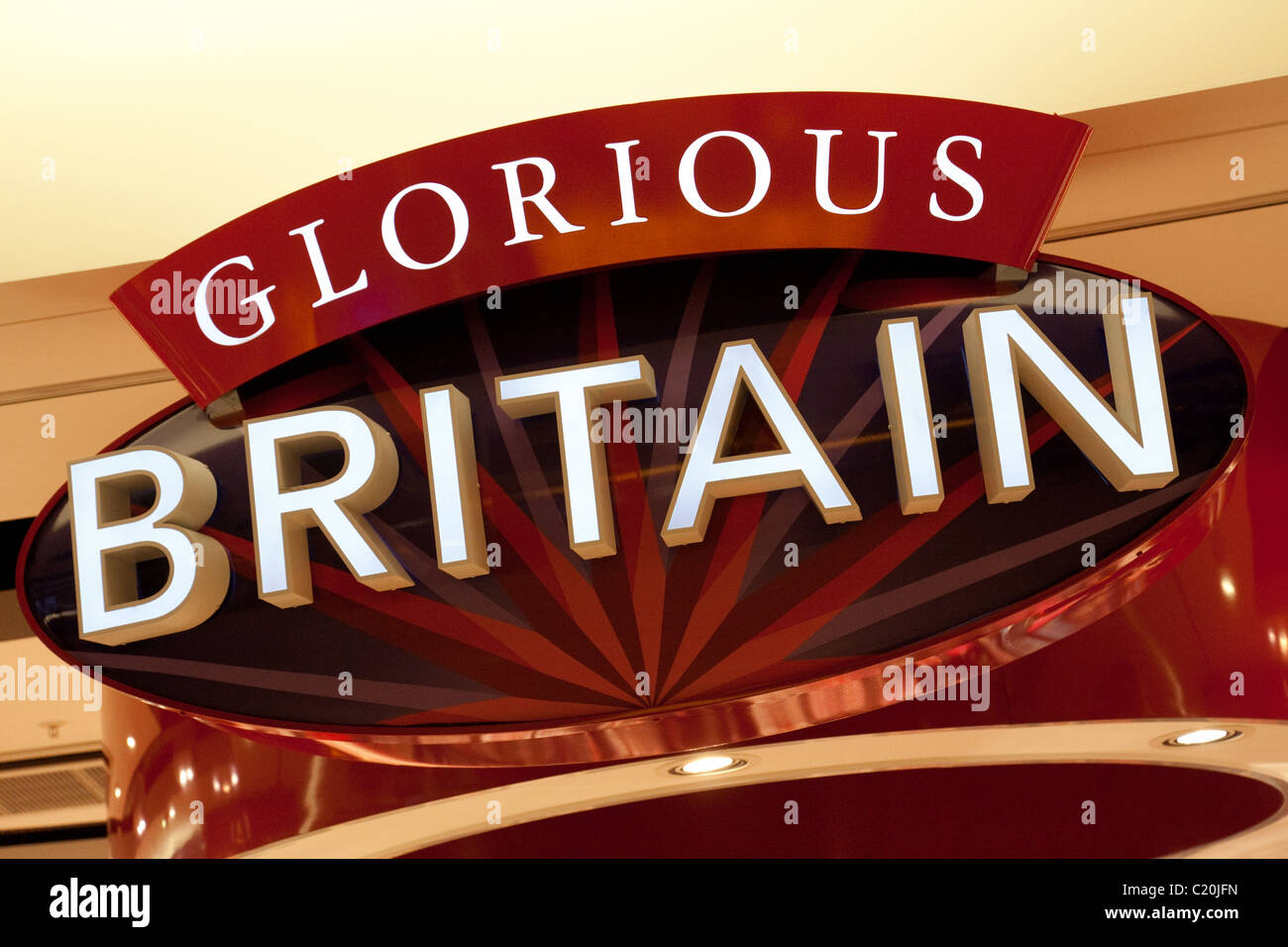 Sign for the Glorious Britain store, terminal 5, Heathrow airport,  london UK Stock Photo