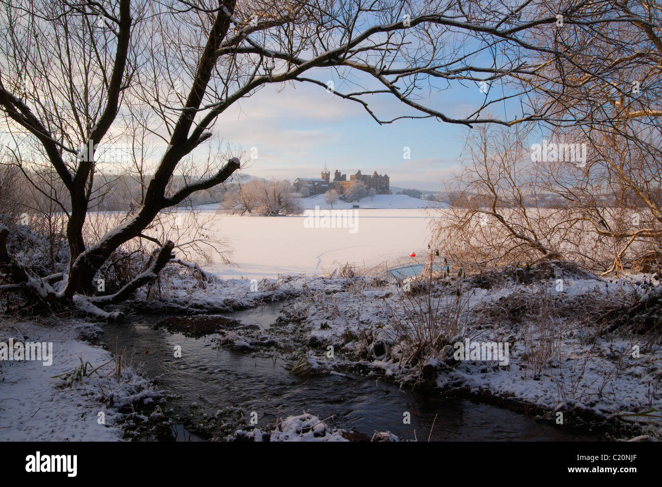 Looking across frozen Loch to Linlithgow Palace, Scotland,  2011 Stock Photo