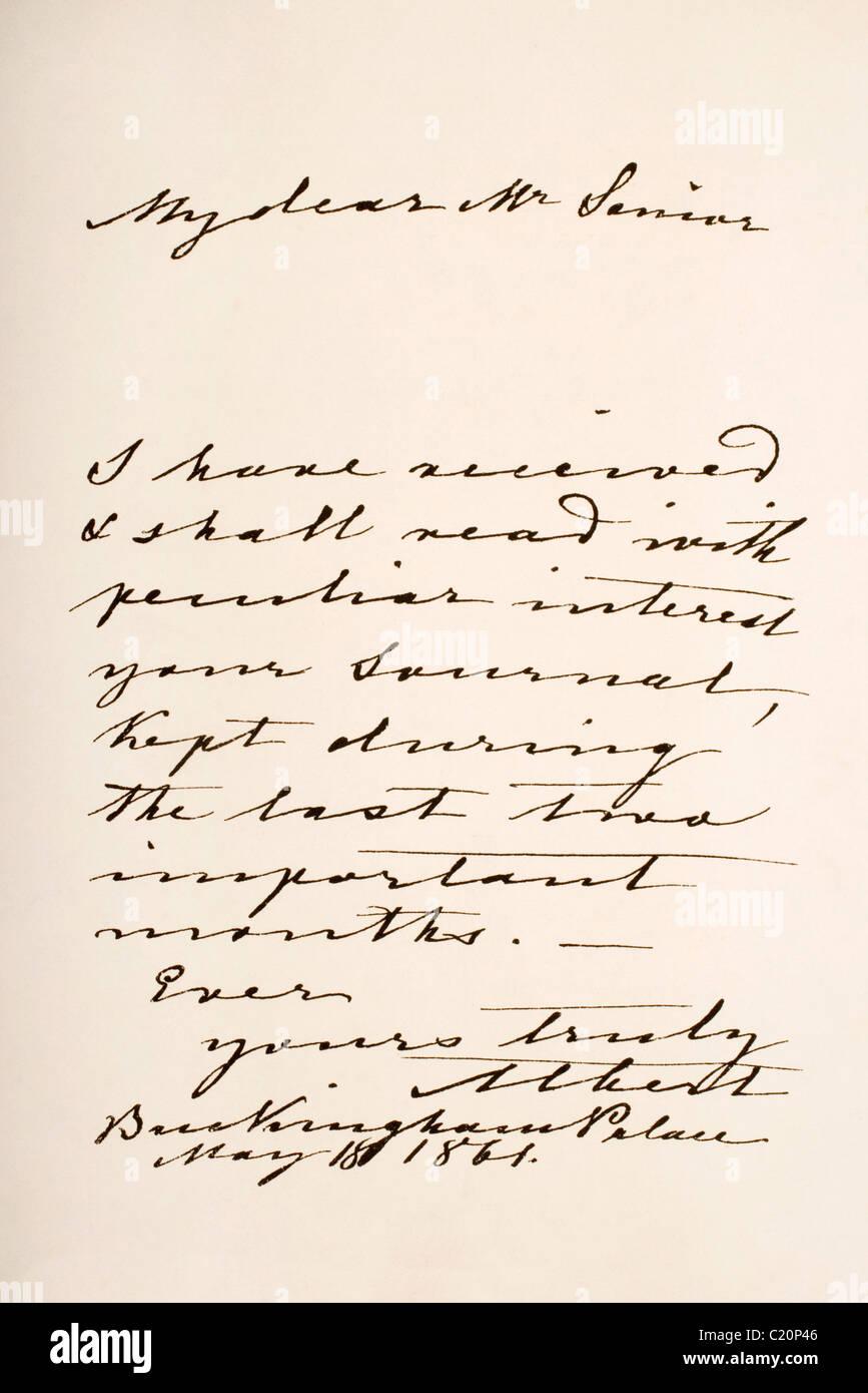 His Royal Highness Albert Prince Consort of Great Britain and Ireland. Hand writing sample. - Stock Image