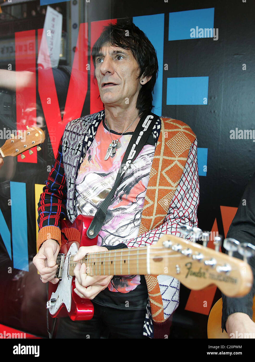 Ronnie Wood playing with his son Jesse's band 'Black Swan' at BT2 in Grafton Street as part of the Arthur - Stock Image