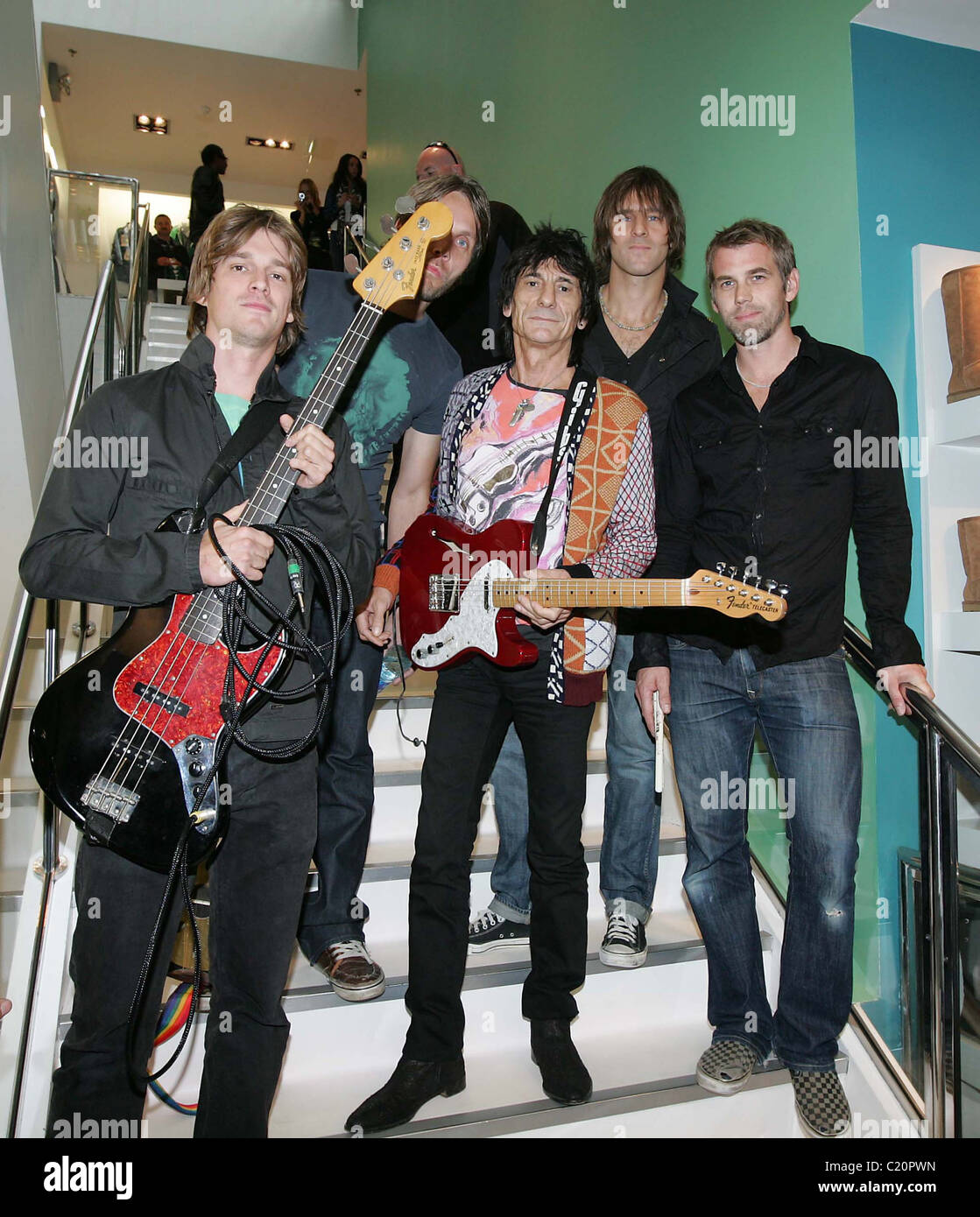 Ronnie Wood with his son Jesse's band 'Black Swan' at BT2 in Grafton Street as part of the Arthur Day - Stock Image