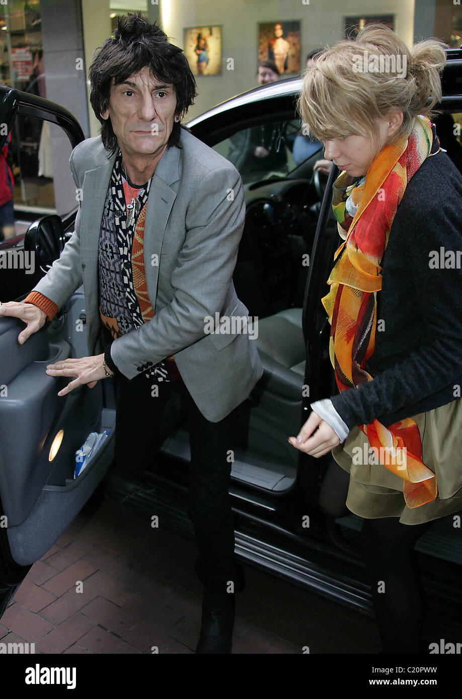 Ronnie Wood and Ekaterina Ivanova  arrives at BT2 in Grafton Street to play with his son Jesse's band 'Black - Stock Image