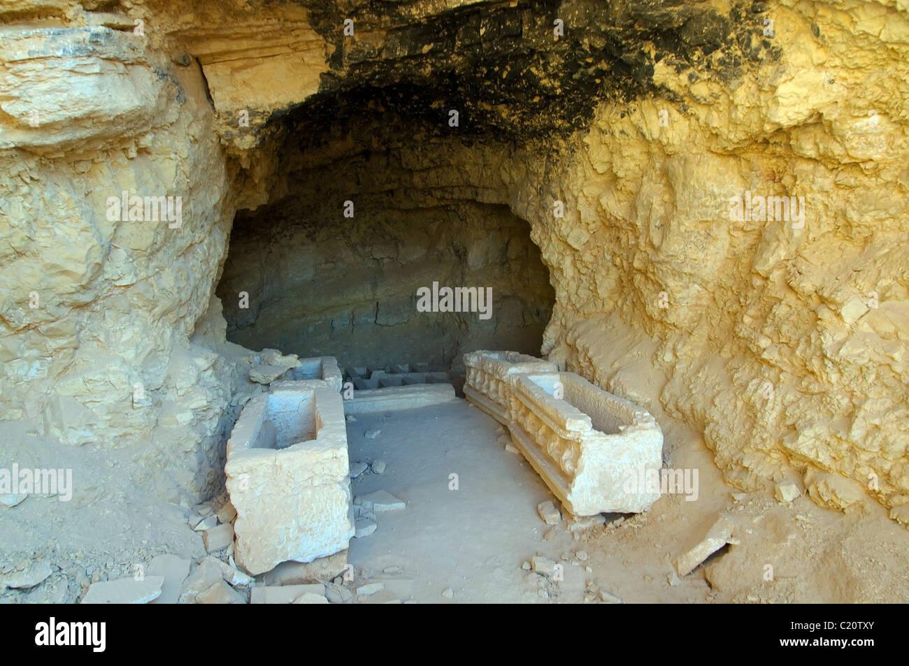 the interior of the underground tomb, Palmyra, Syria - Stock Image