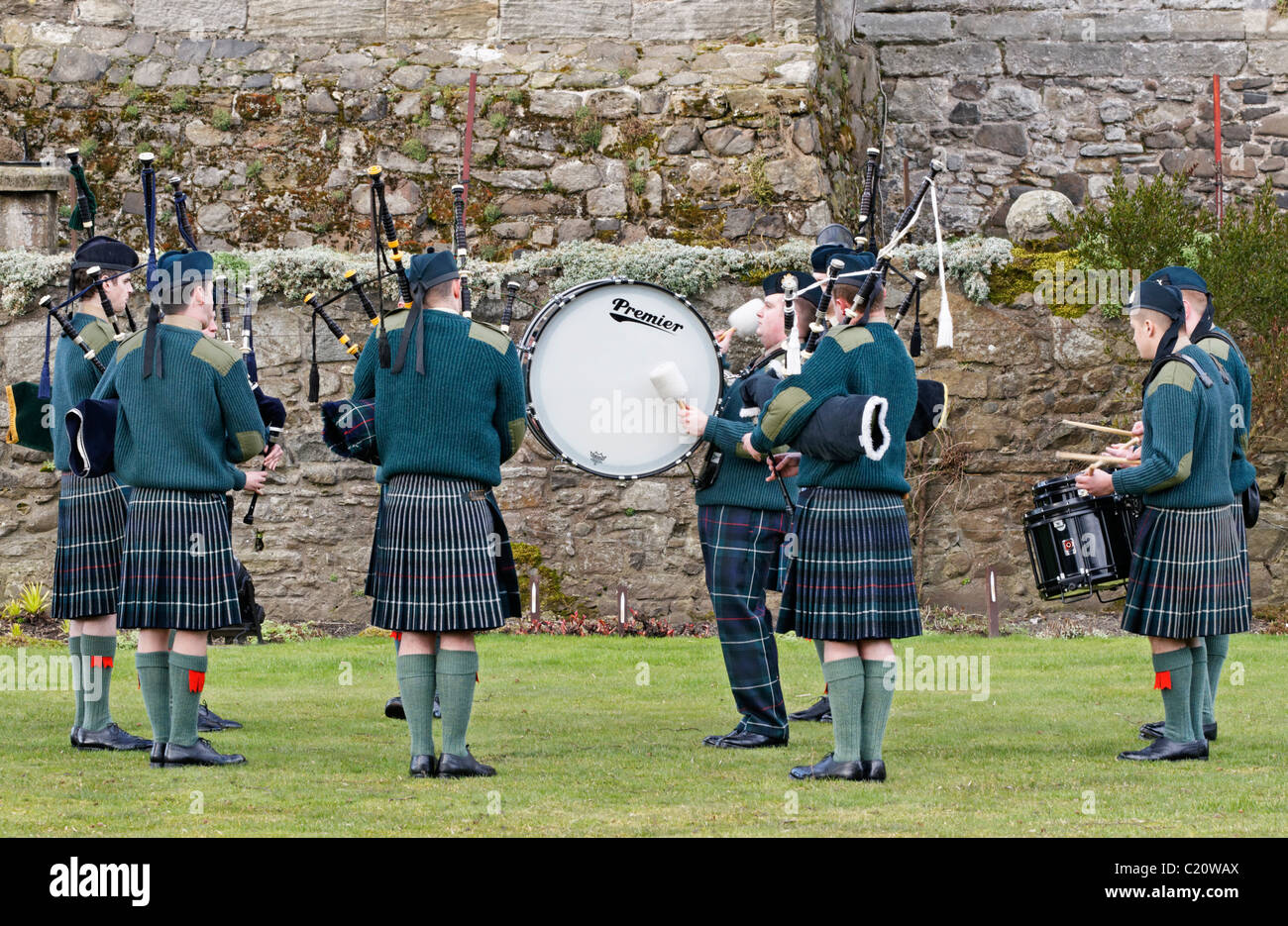 Members of the British Army's Officer Training Corps (OTC) playing in a Pipes and Drums Band competition Stock Photo