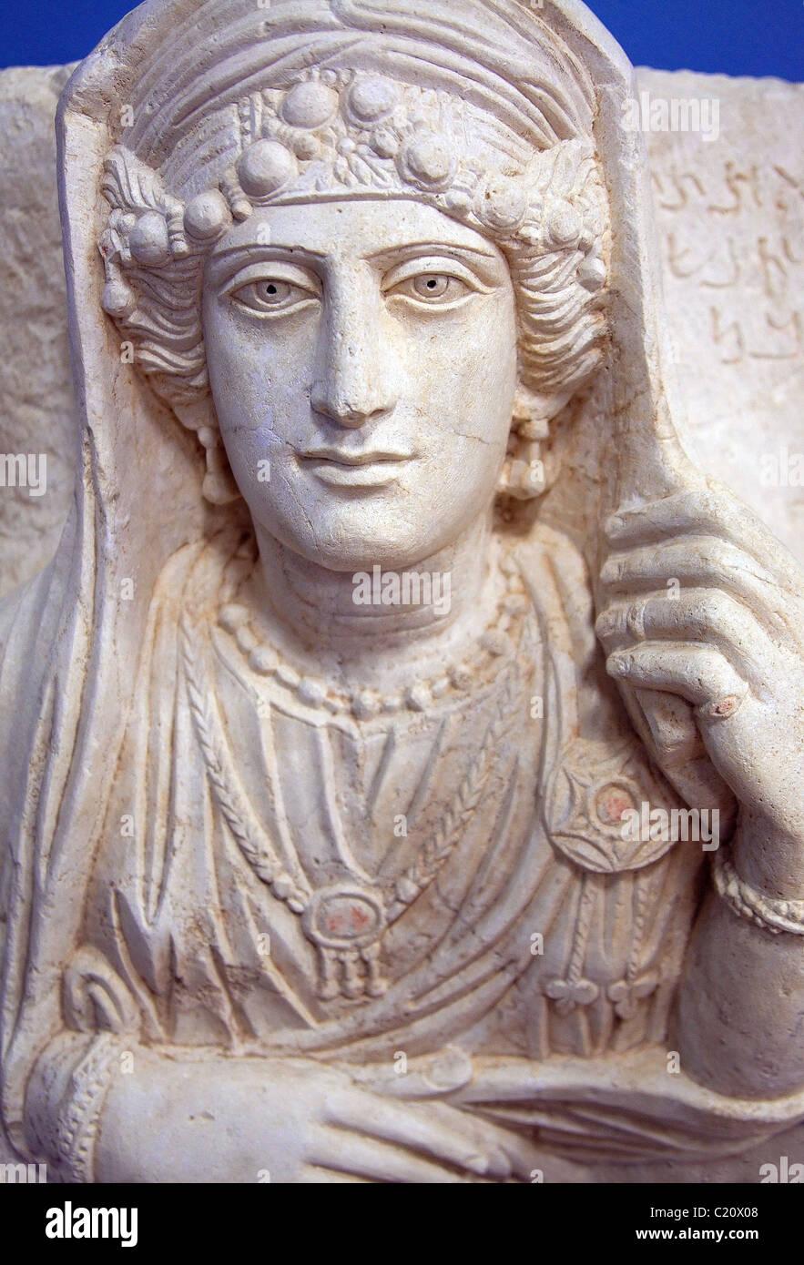 Palmyrene funerary portrait in Palmyra, Syria - Stock Image