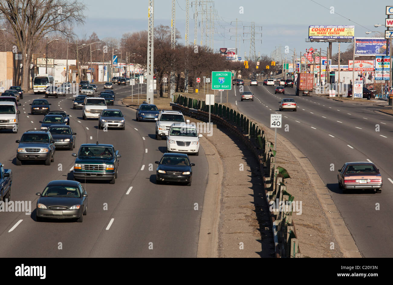 Eight Mile Road in Detroit - Stock Image