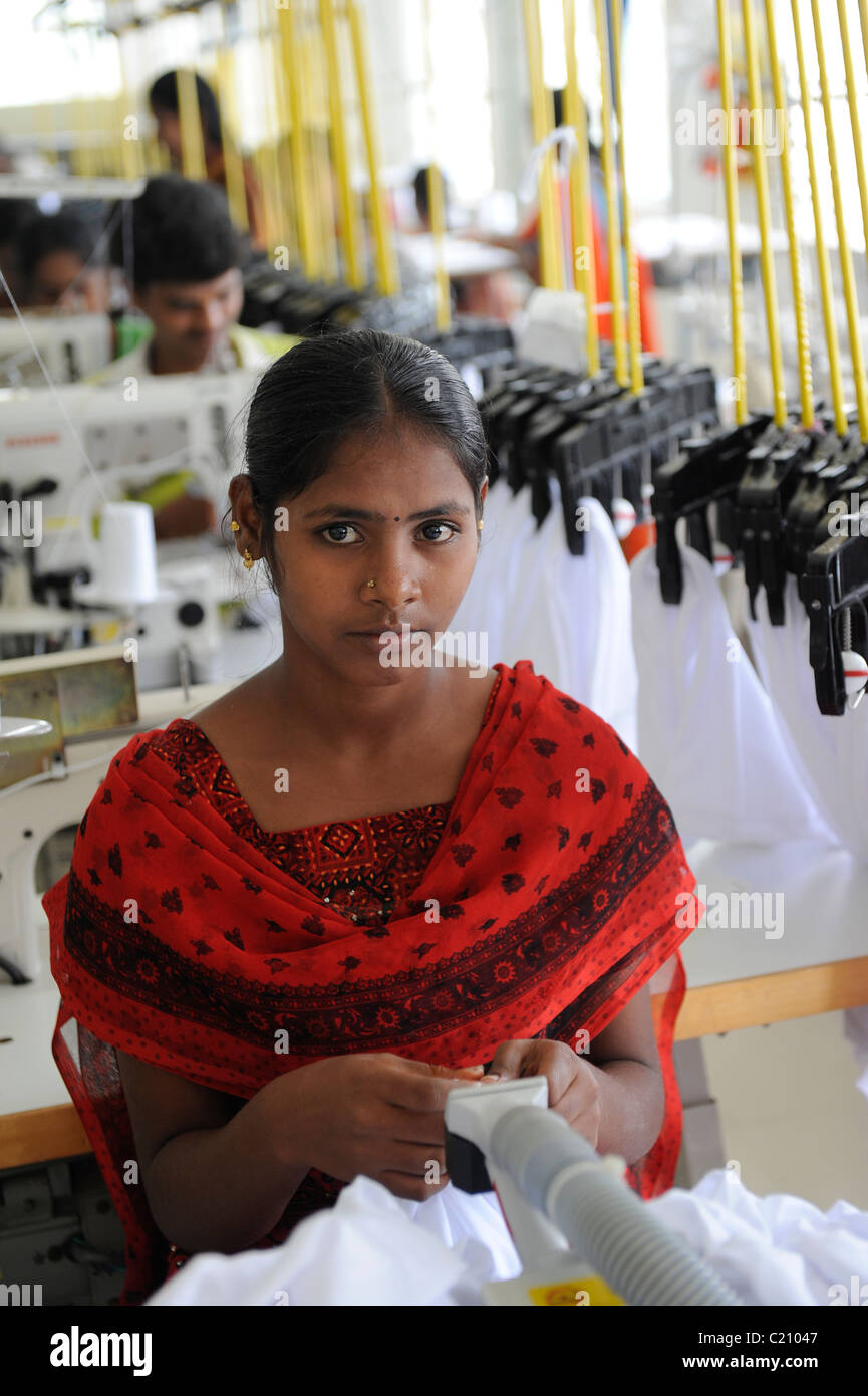 India, Tamil Nadu, Tirupur , women work in fair trade textile factory, production of garments and apparels for export Stock Photo
