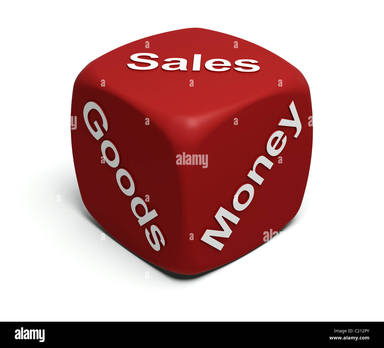 Red Dice with words Goods, Money, Sales on faces - Stock Image