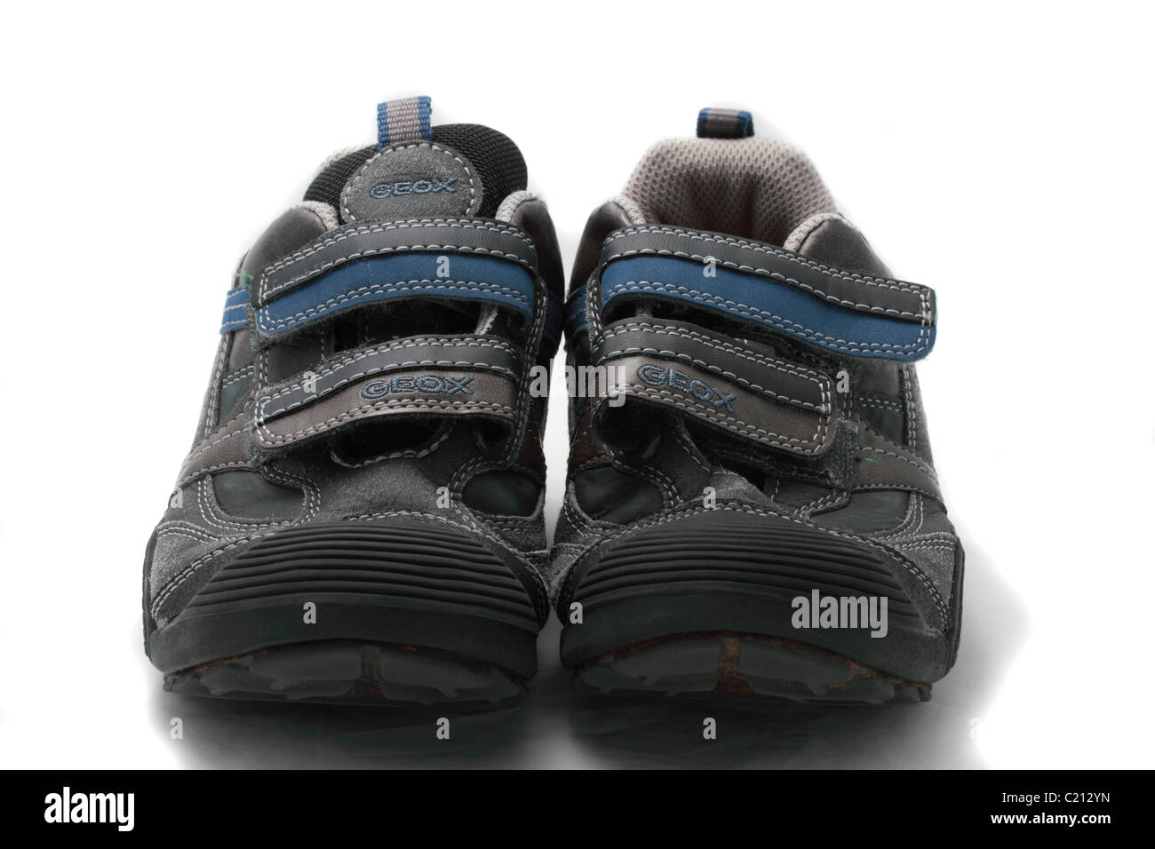 Geox Respira child's training shoes Geobuck and oiled suede, grey and sky blue size 33 (UK size 1) - Stock Image
