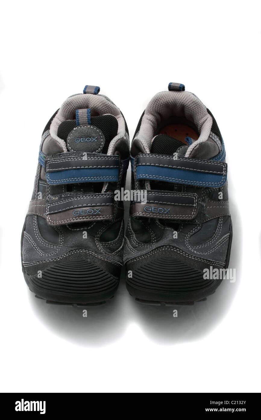 Geox Respira childs training shoes Geobuck and oiled suede, grey and sky blue size 33 (UK size 1) - Stock Image