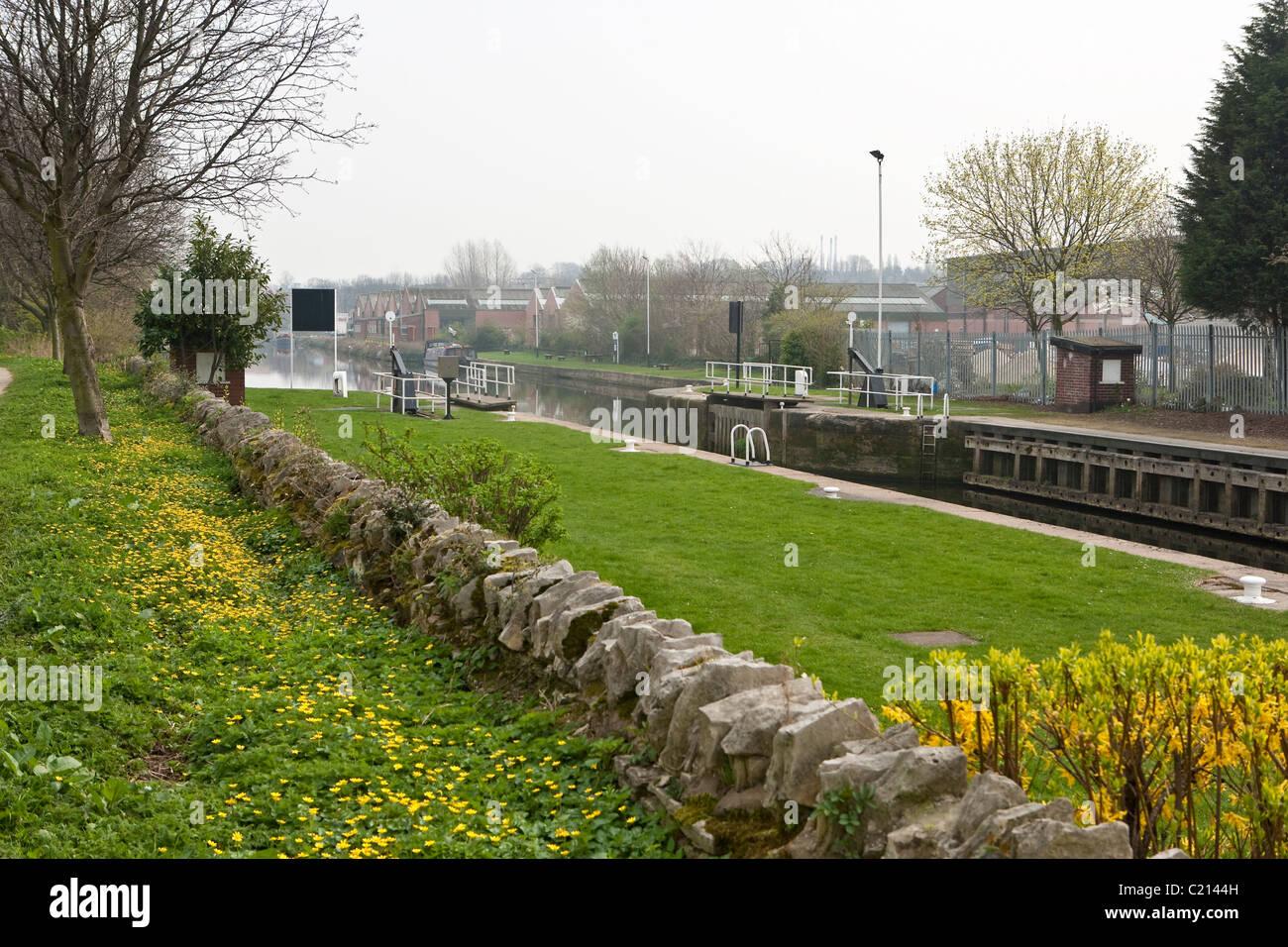 Ferrybridge Lock Aire & Calder Navigation looking towards Goole. Stock Photo