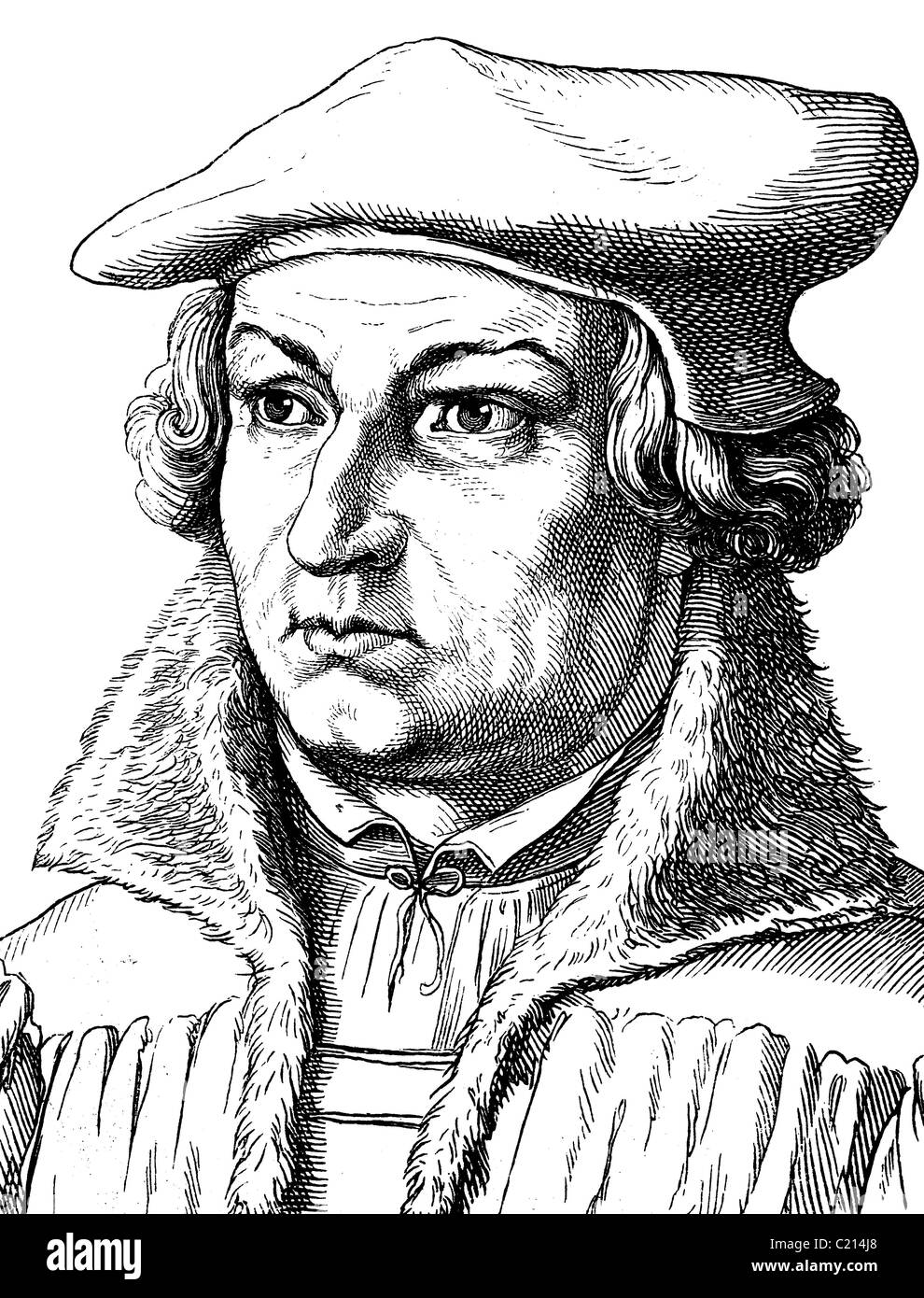 Digital improved image of Justus Jonas, 1493 - 1555, reformer and friend of Luther, portrait, historical illustration, - Stock Image
