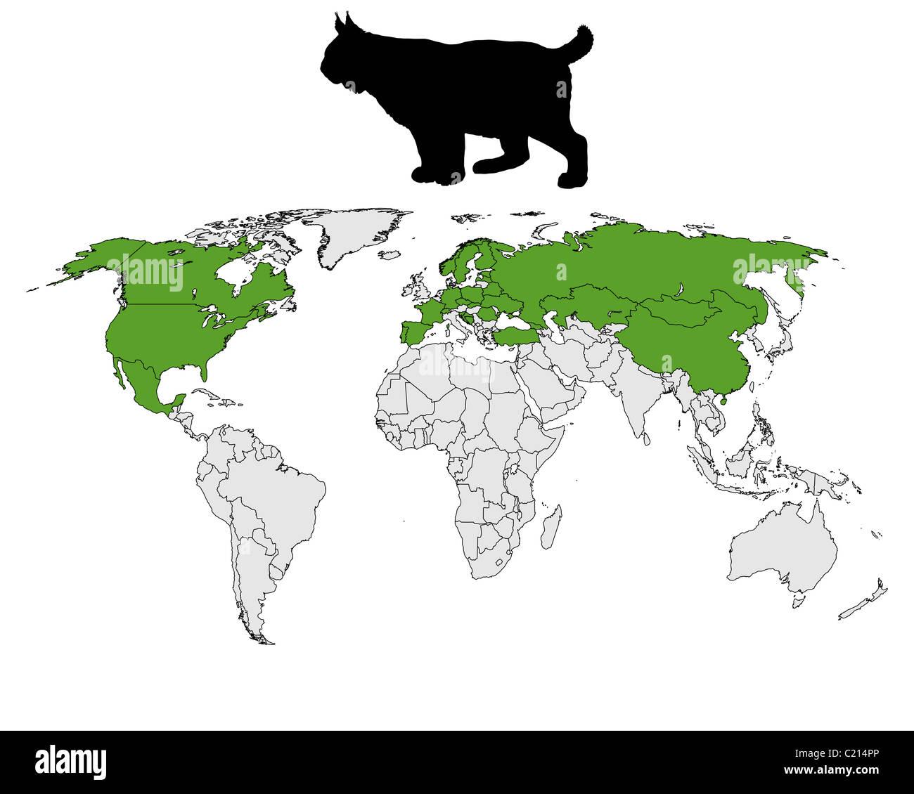 Lynx range map - Stock Image