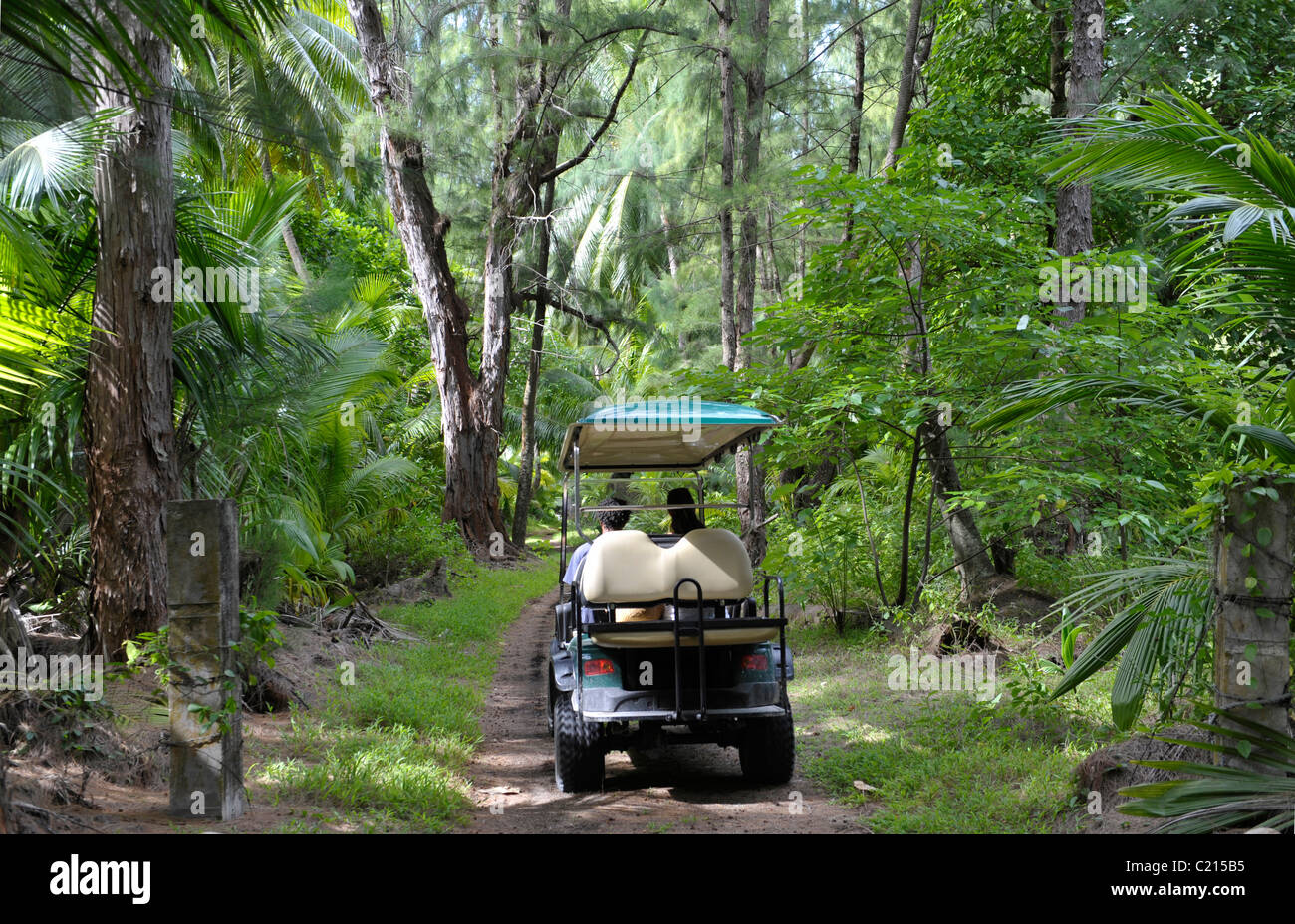 Golf cart in coconut grove on Desroches Island, Seychelles - Stock Image