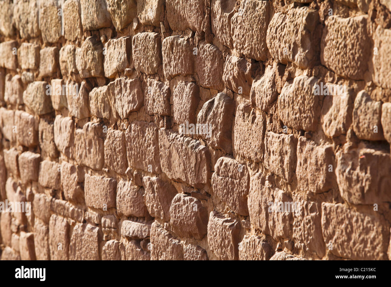 A detail view of an Adobe mortar wall on the Sun Temple in Mesa Verde National Park, USA. - Stock Image