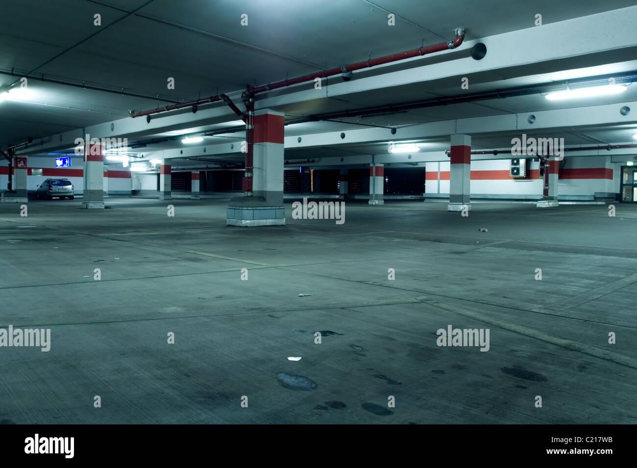 Underground parking garage - Stock Image