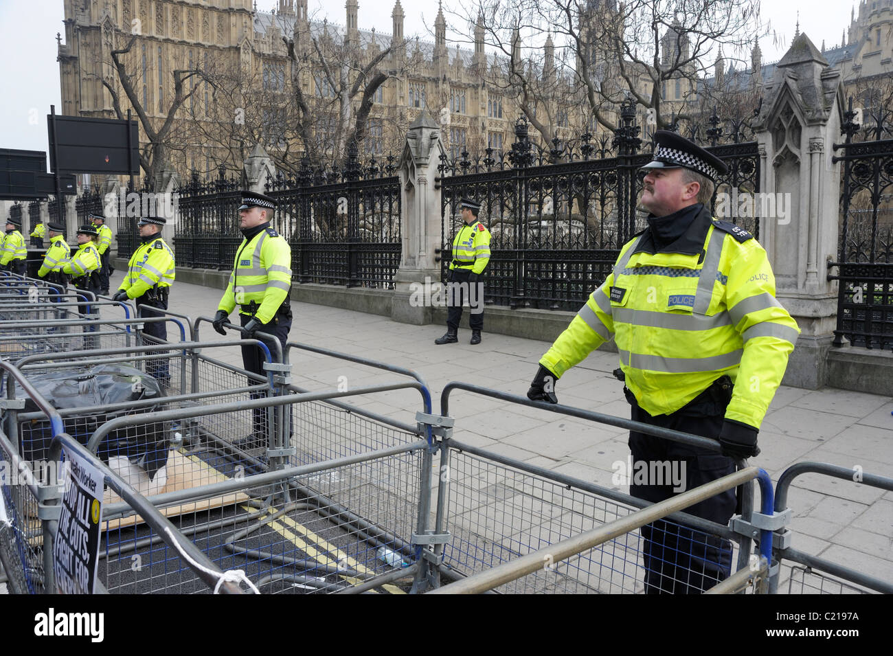Police at TUC Anti-Spending Cuts March, outside Houses of Parliament, London 26th March 2011 - Stock Image