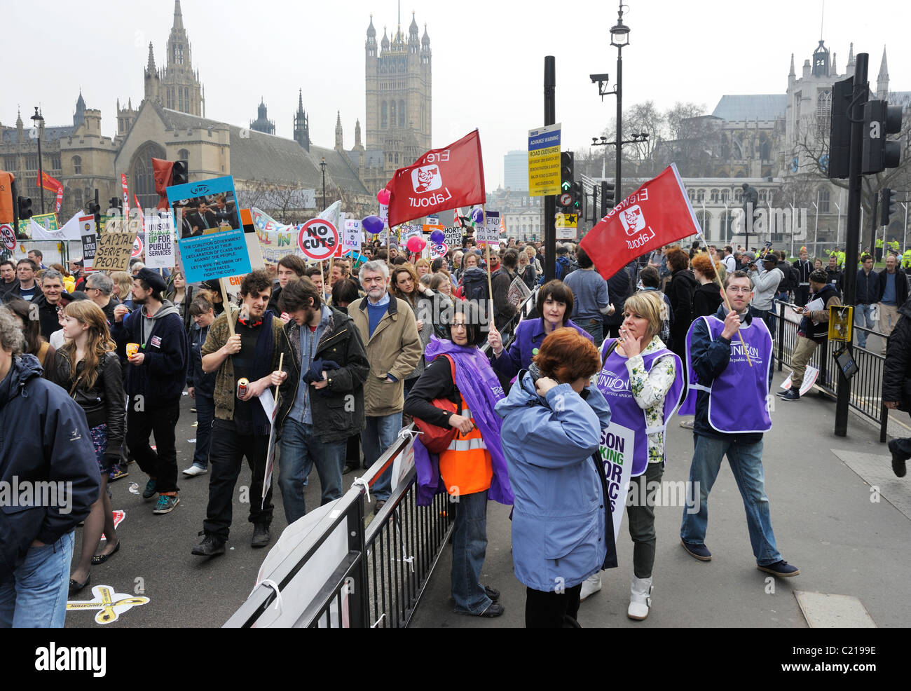 TUC Anti-Spending Cuts March, outside Houses of Parliament, London 26th March 2011 - Stock Image