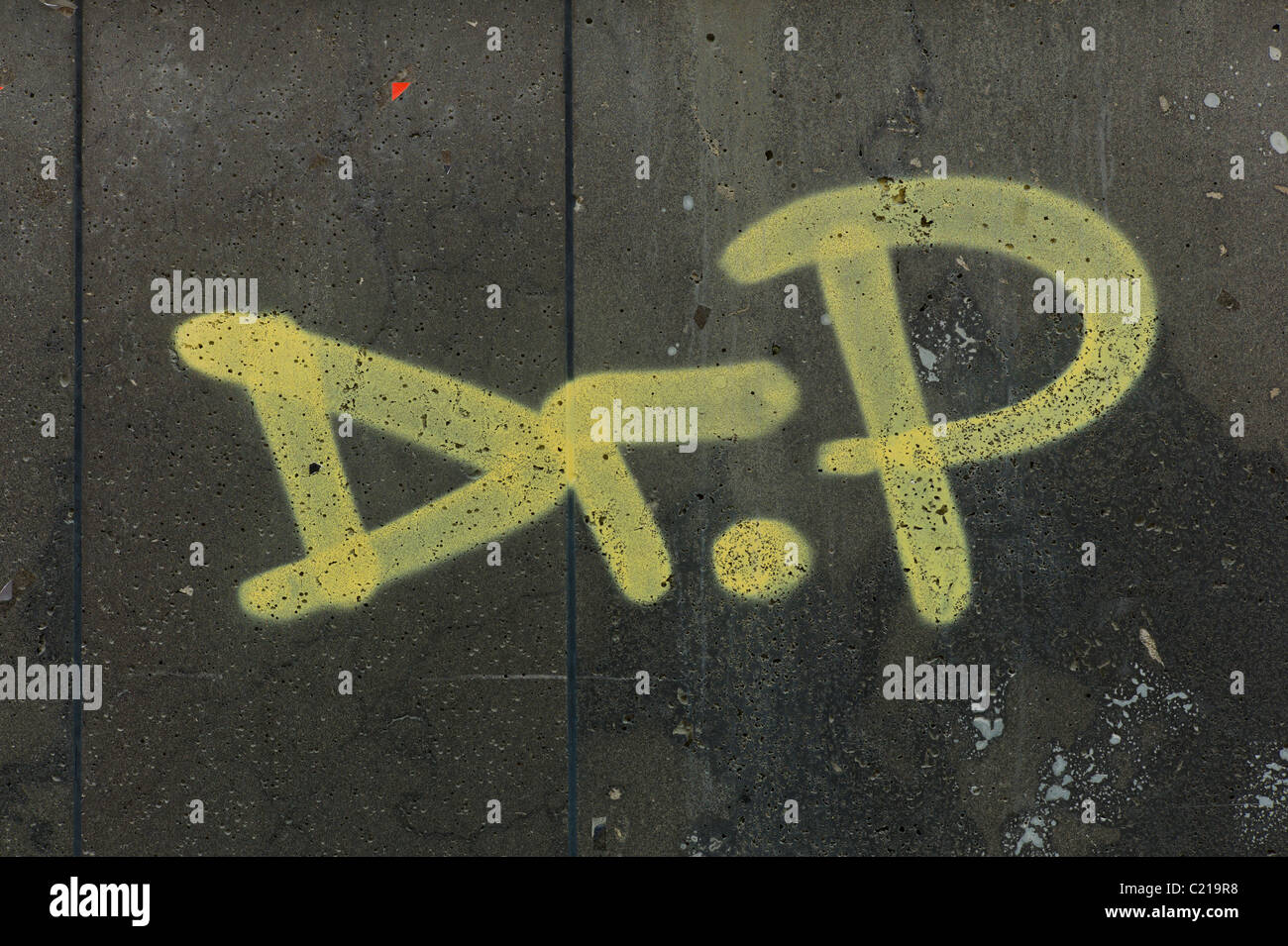 Tag 'Dr. P' on a dark wall of a building of the Reichenbachstraße in Munich Stock Photo